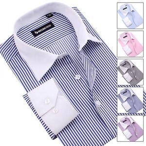 English high end business men 39 s stripes fit cut long for High end men s dress shirts
