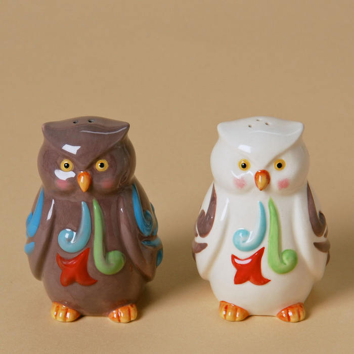 ENESCO Jim Shore Stoneware Owls Salt Pepper Shakers #4025877 NEW