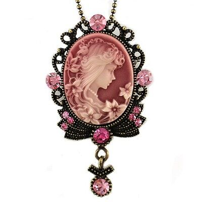 Light Indian Pink Cameo Pendant Necklace Antique Bronze Brass Tone Crystal Stone