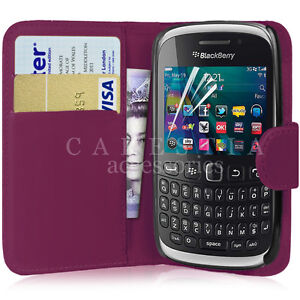 FLIP WALLET LEATHER CASE COVER FOR BLACKBERRY CURVE 9320 FREE SCREEN PROTECTOR
