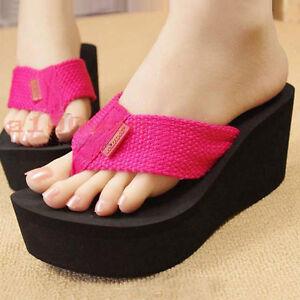 Womens-High-Quality-Platform-Pantshoes-High-Heel-Sandals-Beach-Shoes-Flip-Flops