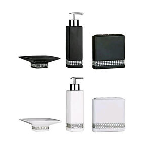Bathroom accessories set ceramic black white radiance for White bathroom accessories set