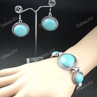 Natural Turquoise Tibet silver Earring and Bracelet Set