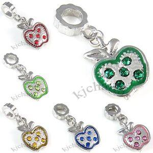 Apple-Silver-Cubic-Zirconia-Dangle-European-Charm-Bead-For-Bracelet-Necklace