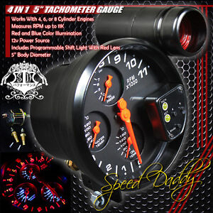 5-4-IN-1-11K-RPM-LED-TACHOMETER-OIL-WATER-PRESSURE-TEMPERATURE-GAUGE-SHIFT-LIGHT