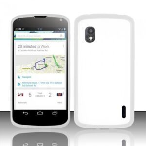 WHITE-TPU-RUBBER-BORDER-BUMPER-COVER-CLEAR-HARD-CASE-for-LG-GOOGLE-NEXUS-4