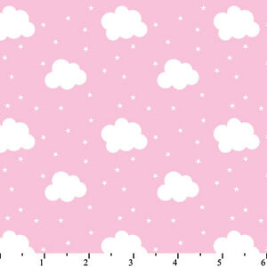BABY LULLABY PINK CLOUDS FLANNEL FABRIC
