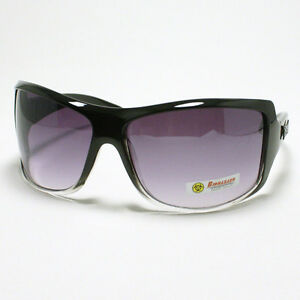 BIOHAZARD-WRAP-Around-Style-Mens-Oversized-Sunglasses-BLACK-Clear-2-Tone-Color