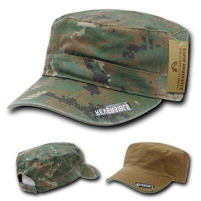 Woodland Digital Camouflage / Brown Reversible Cadet Flat Top Cap Caps Hat Hats