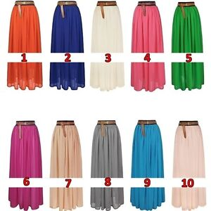 100-110-120cm-Elegant-Chiffon-Pleated-Long-Maxi-Skirt-Elastic-Band-Dance-Dress