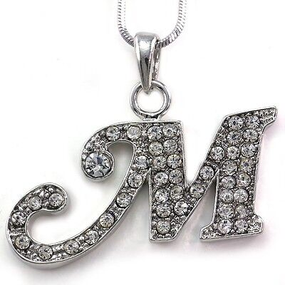 Alphabet Initial Letter M Pendant Necklace Charm Silver Tone Teen Ladies Jewelry