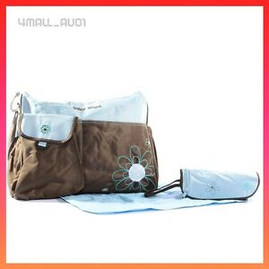blue baby diaper nappy insulated travel bag nappy with change pad bottle carrier ebay. Black Bedroom Furniture Sets. Home Design Ideas