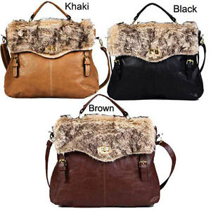 NEW-Women-Faux-Fur-Messenger-Satchel-Shoulder-Purse-Handbag-Tote-Bag-Moonar-B229