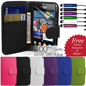 FLIP-WALLET-LEATHER-CASE-COVER-FOR-SAMSUNG-GALAXY-S2-I9100-FREE-SCREEN-PROTECTOR
