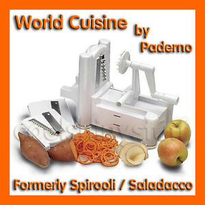 World cuisine 3 blade plastic spiral vegetable slicer - Paderno world cuisine spiral vegetable slicer ...