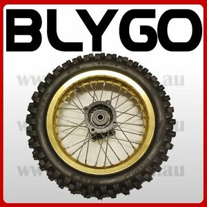 GOLD-15mm-Axle-3-00-12-Inch-Rear-Wheel-Rim-Knobby-Tyre-Tire-PIT-PRO-Dirt-Bike