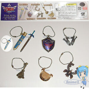 Zelda-Skyward-Sword-Metal-Item-Collection-keychain-set-of-6-Master-Sword-NEW