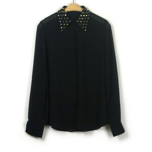 New-classic-point-collar-with-Golden-rivet-detailing-Top-Shirt-Blouse