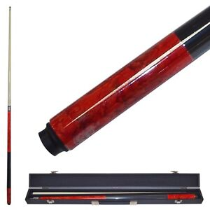Red Marble Graphite 2 Piece Pool Cue Stick and Case - Stainless Steel Joints