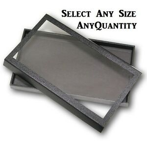 LOT-OF-WHOLESALE-JEWELRY-TRAYS-w-CLEAR-VIEW-MAGNETIC-LID-TRAYS-CASE-WOODEN-CASE