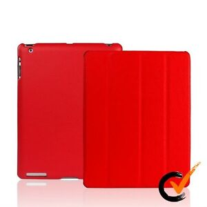 IPAD 3 CASE - SMART COVER - PREMIUM QUALITY PU LEATHER - ORIGINAL - RED