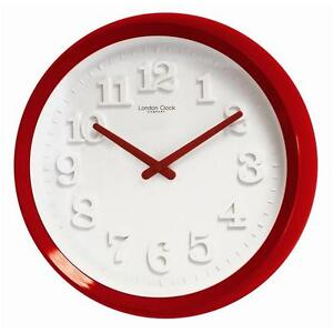Round Satin Red 50s Style Wall Clock Quartz BRAND NEW IN