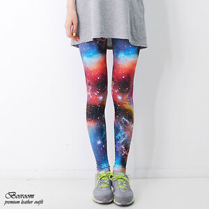 BR-Women-spandex-rainbow-space-leggings-galaxy-graphic-pants-shorts-tights-S-L