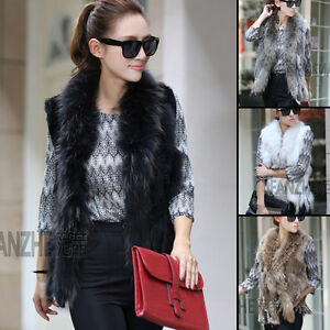 HOT-Knit-farms-Rex-rabbit-fur-vest-gilet-with-Ussuri-RACCOON-fur-collar