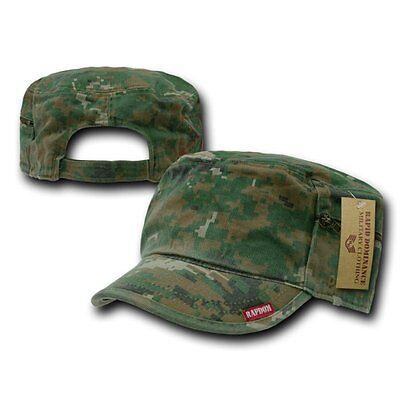Woodland Camo Gi Patrol Fatique Army Zipper Cadet Flat Top Bdu Cap Caps Hat Hats
