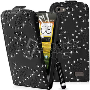 DIAMOND LEATHER FLIP CASE COVER FITS HTC ONE V FREE SCREEN PROTECTOR
