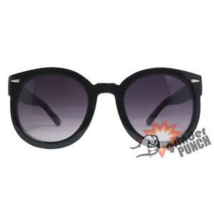 Womens Large Round Wayfarer Style Sunglasses Vintage Thick Horn Circle Oversized
