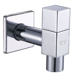 Modern Square Single Handle Wall Mounted Basin Tap With Chrome Finish F17