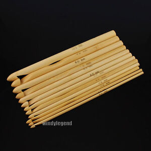 12 SIZES BAMBOO CROCHET HOOK 15CM SET NEEDLES SIZE 3-10MM