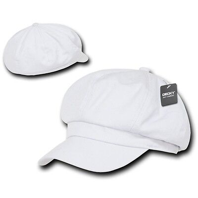 White Applejack Newsboy Cabbie Gatsby Golf Driving Ivy Hat Hats Cap Caps S/m