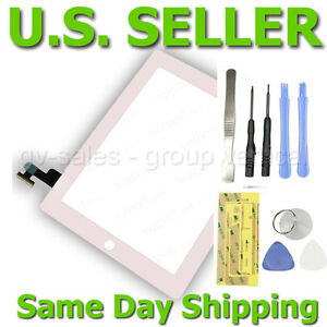 New White iPad 2 Touch Screen Glass Digitizer Replacement Part 2nd Gen + TOOLS