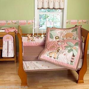 Step By Step 4 Pc New Pink Jungle Friends Crib Bedding Set