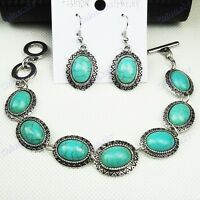 Vintage silver Top Turquoise Earring and Bracelet fashion Set
