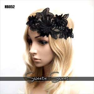Gatsby-Headband-Black-Flower-Lace-Hair-Band-Flapper-Wedding-Fascinator-Headpiece