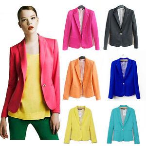 ZARA-style-women-A-buckle-Slim-Casual-Candy-colors-Suit-Jacket-Blazer-XS-S-M-L
