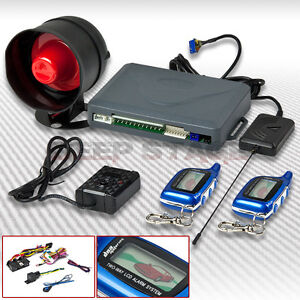 2-WAYS-CAR-SECURITY-ALARM-SYSTEM-SET-KIT-W-SIREN-LCD-PAGER-ENGINE-START-BLUE