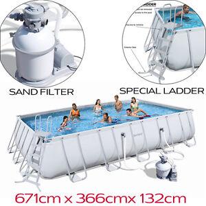Bestway Steel Frame Rectangular Swimming Pool Sand Filter Pump 22ft 6 7m 56278 Ebay