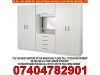BRAND NEW Fully Assembled 4 Door Family Fitment wardrob Set, Mirror Drawer Shelve Rails