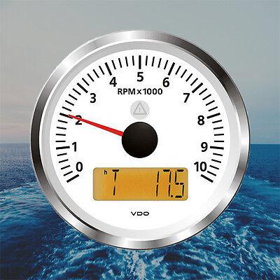 "VDO Viewline Tachometer LCD Hourmeter 10000 RPM 85mm 3"" White A2C59512365"