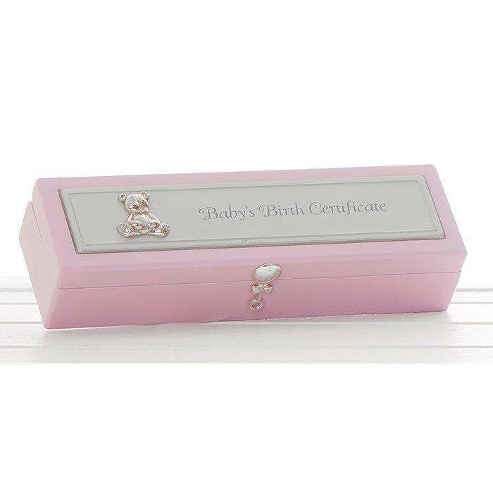 New Baby Born Boy Girl Birth Certificate Holder Keepsake Box ...