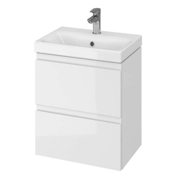 VBChome® Badmöbel Waschbecken mit Unterschrank Waschtisch 2Schubladen weiß Moduo