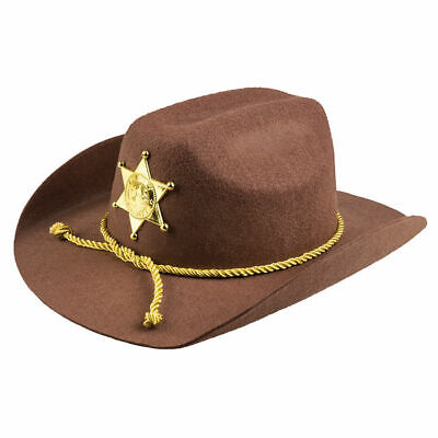 NEU Hut Deputy Sheriff, braun, mit Stern Sheriffshut - Sheriff Hut