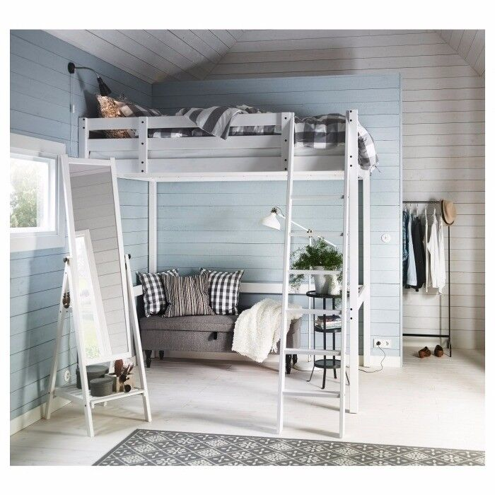 Ikea Wooden Double Loft Bed Stor 197 Mattress In