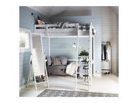 IKEA wooden double loft bed (STORÅ) + mattress