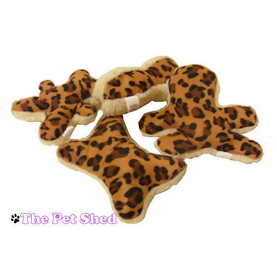 Fleece Squeaky Toy - Dog Puppy Pet Play Fetch Bite Squeaky Plush Fleece Leapord Print Toy - 4 Designs