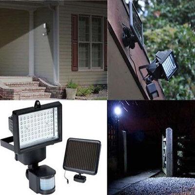 60 LEDS Solar PIR Bewegungsmelder Solar Flutlicht Fluter Strahler Garage Leuchte